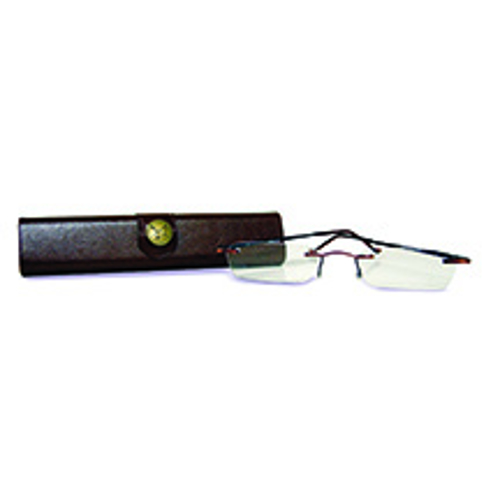 Picture of Auburn Temples And Buffalo Brown Case Slim Rimless Reading Glasses - 1. 00