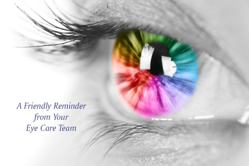 Picture of Multi Color Eye Reminder Postcard 4X6 50 ct
