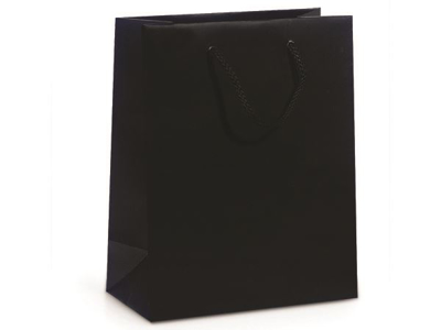 "Picture of Matte Laminate Shopping Bags-Black 8""X4""X10"" 50/Box"