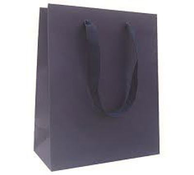 """Picture of Matte Laminate Shopping Bags-Navy 8""""X4""""X10"""" 50/Box"""