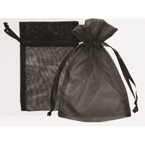 "Picture of Organza Bags 6""X10""- Black 25/Box"