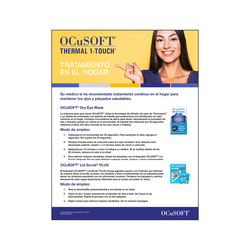 Picture of Ocusoft Thermal 1-Touch Patient Instruction Detail Sheet-Spanish